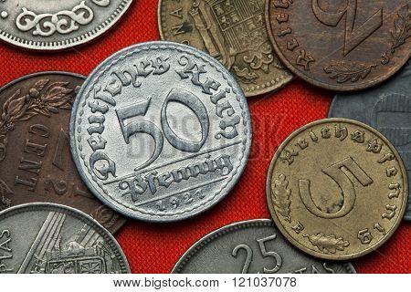Coins of the Weimar Republic. German 50 Reichspfennig coin (1921).