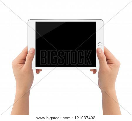 Hand Holding White Tablet like in ipades style Isolated On White Clipping Path Inside