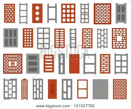 Set of different clay and concrete bricks