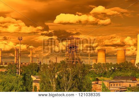Mine tower and petrochemical plant
