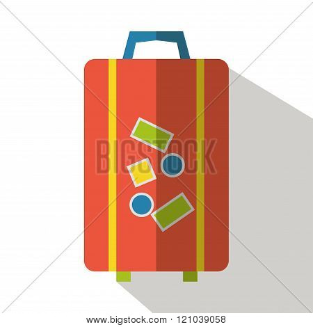 Travel bag icon isolated vector front view