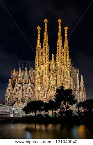 Night View Of Nativity Facade Of Sagrada Familia Cathedral In Barcelona