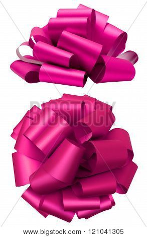 Pink lush bow isolated clipping path