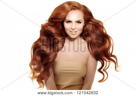 Model with long red hair. Waves Curls Hairstyle. Hair Salon. Updo. Fashion model with shiny hair. Woman with healthy hair girl with luxurious haircut. Hair loss Girl with hair volume.  poster