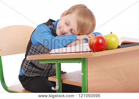 Boy Fell Asleep At A School Desk