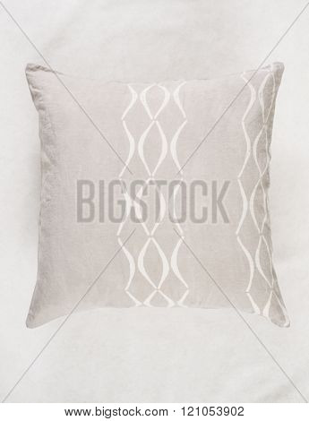 Close Up Of Square Gray Throw Pillow On White Backdrop