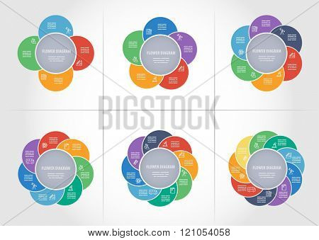 Collection of colorful diagrams with 4, 5, 6, 7, 8 and 9 sides for brochures, banners, web designs