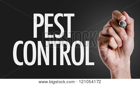 Hand writing the text: Pest Control poster