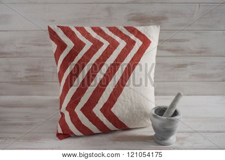 Square White With Red Chevron Throw Pillow  With Mortar And Pestle