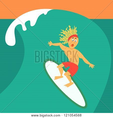 Cartoon Guy Surfing On His Surfboard.