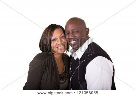 Portrait of a happy couple isolated on white