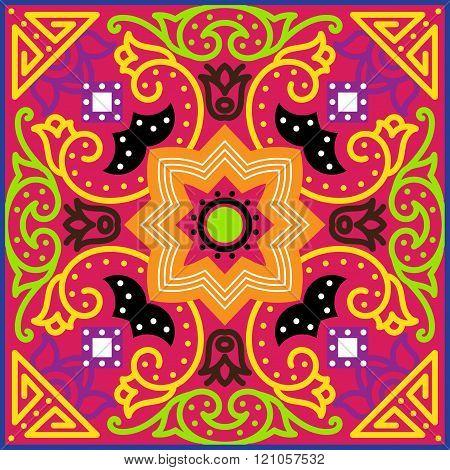 Talavera Tile. Vibrant Mexican Seamless Pattern,