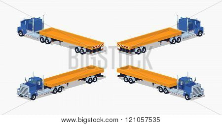 Blue heavy truck and trailer with the yellow open platform. 3D lowpoly isometric vector illustration. The set of objects isolated against the white background and shown from different sides poster
