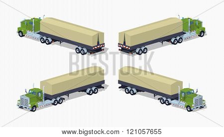 Low poly green heavy truck and trailer with the tarpaulin tent