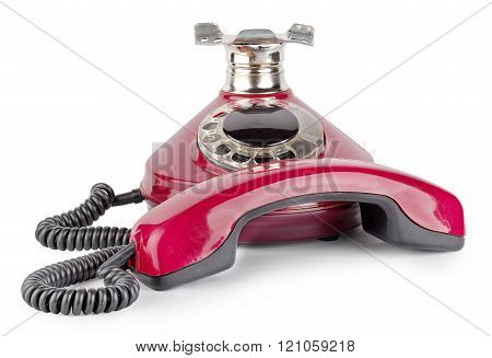 Red old telephone off hook
