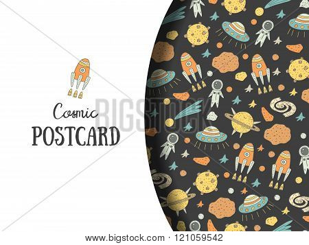 Cute hand drawn doodle postcard, card with cosmic objects