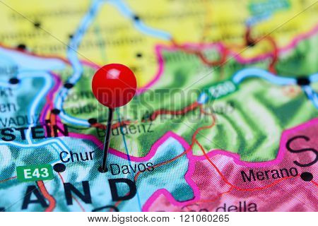 Davos pinned on a map of Switzerland