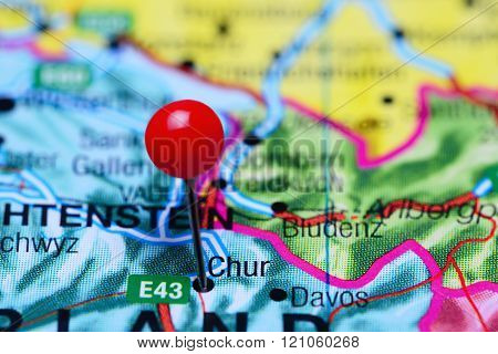 Chur pinned on a map of Switzerland