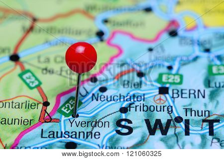 Yverdon pinned on a map of Switzerland