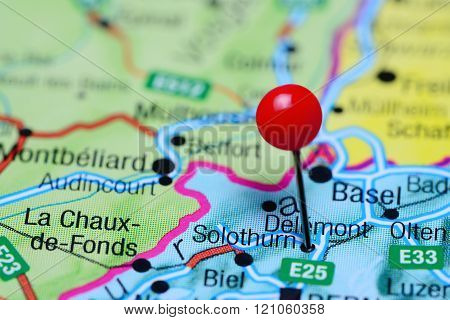 Solothurn pinned on a map of Switzerland