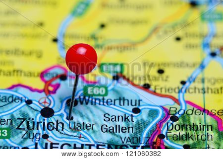 Uster pinned on a map of Switzerland
