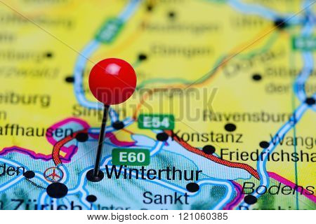 Winterthur pinned on a map of Switzerland