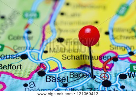 Baden pinned on a map of Switzerland