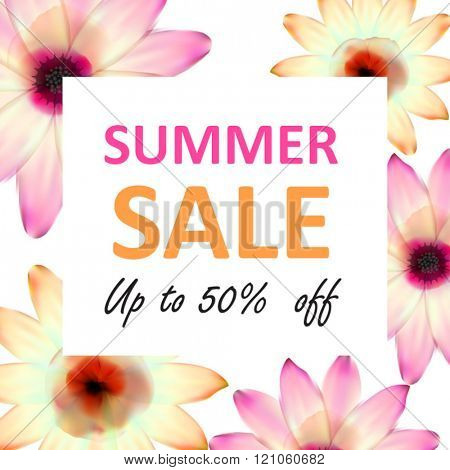 Summer sale banner with flowers