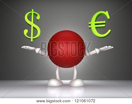 3d Man holding a dollar signs and the euro