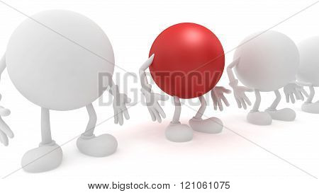 3d-man standing in a row , Red man among white men