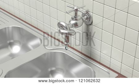 3D leaky water tap tied knot on wall with tiles and sink poster