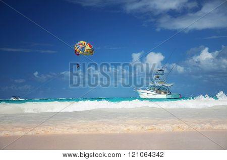 Sailing yacht in the sea near the coastline