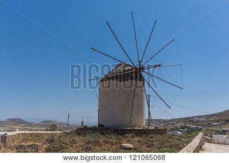 Old windmill in Town of Ano Mera, island of Mykonos, Greece