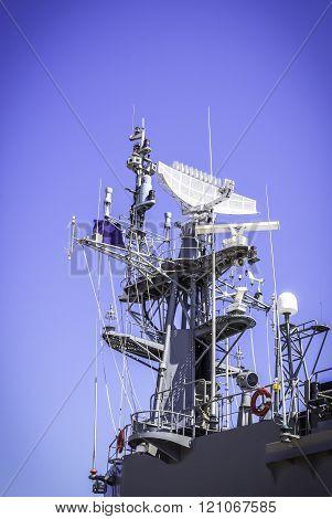 Radar On Battleship With Blue Sky