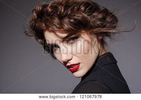 Young sexy beautiful woman with fashion hairstyle