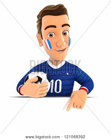 3D French Soccer Fan Pointing To Empty Wall