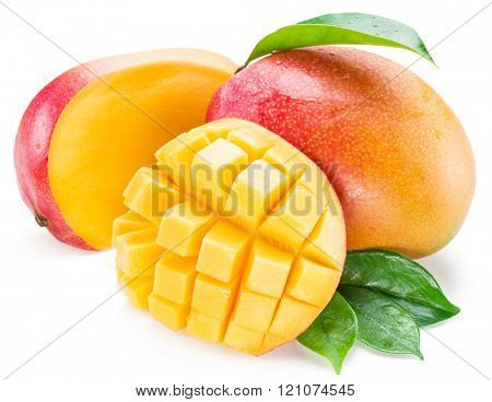 Mango cubes and mango fruit. Isolated on a white background.