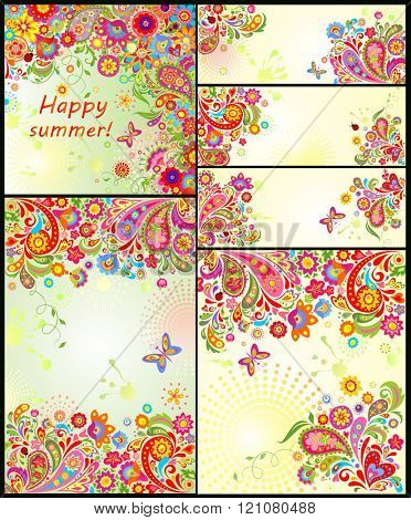 Set of colorful summery floral decorative templates