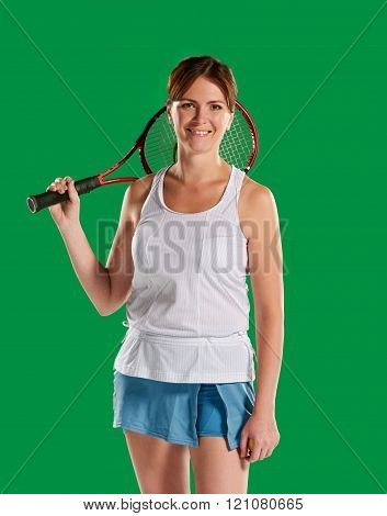 woman with a tennis racket
