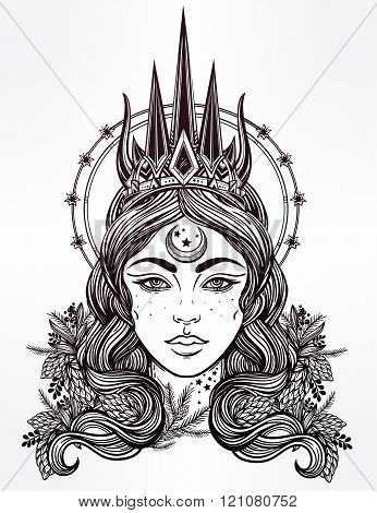 Fantasy Nothern Queen vector illustration