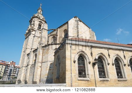 view of the church of St. Anton in the old town of Bilbao, was built in the 15th century and is Gothic, Bilbao, Biscay, Basque Country, Spain