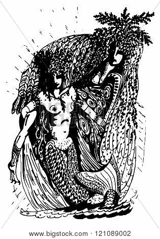 Black and white graphics: two mermaid - two archaic spirit of nature