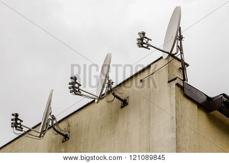 Three Satellite Dishes
