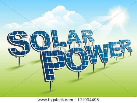 Solar power. Solar panels on green field