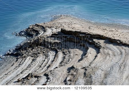 Slowly drying out Dead sea in Israel poster