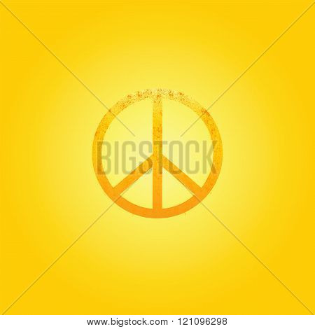 Shabby Golden Peace Symbol