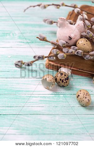 Quail Eggs, Decorative Hen, Willow  Branches On Wooden Background.