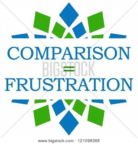 Comparison Equals Frustration Green Blue Elements Square