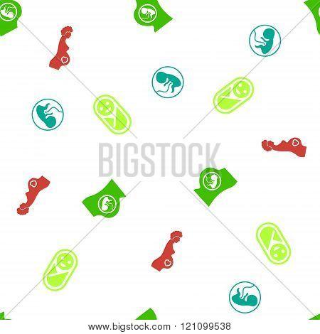 Pregnancy Seamless Flat Glyph Pattern