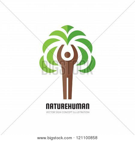 Nature human - vector logo concept illustration. Ecology logo sign. Nature logo sign. Eco logo sign.